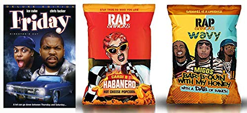 Craig + Smokey Movie And RAP Snack Pack: Friday (Deluxe Edition) & Rap Snack 2 Pack- Migos Bar-B-Quin' With My Honey/ Cardi Habanero Hot Cheese Popcorn 2.75 oz LIMITED EDITION SNACK PACKS