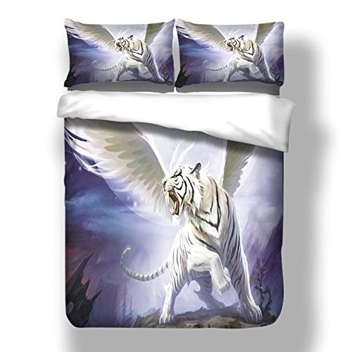 Polyester 3D Bettbezug mit weißen Tiger Muster Bettwäsche einschließlich 2 Kissenbezüge und 1 Bettbezug , König (Tröster Tiger Set)