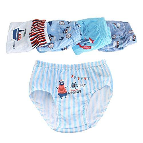 Dew drinkinging fairise Kinder Unterwäsche 5 Stück Junge Dreieckshorts Bequeme Baumwolle Kinderunterwäsche Slips (Navy Junge) (3-4 Jahre alt)