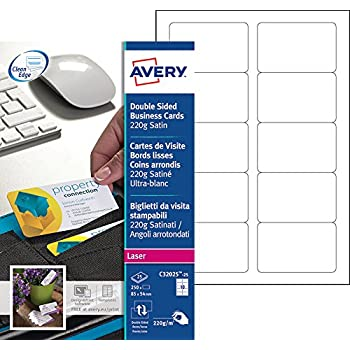 Avery 250 Cartes De Visite A Bords Lisses Et Coins Arrondis 220g