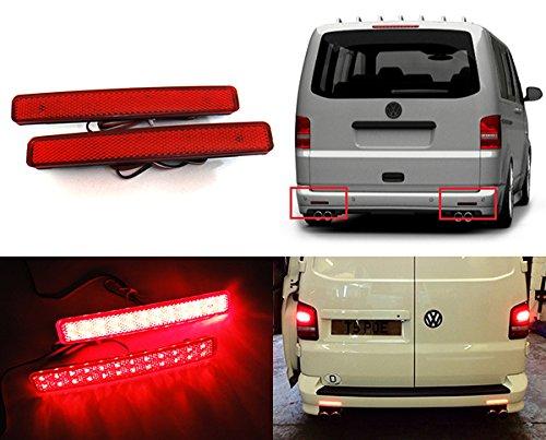 2 x rouge objectif pare-chocs arrière Réflecteur Feux Stop à LED Fog lumière pour 2003-11 Transporter T5 Caravelle Multivan