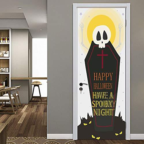 KUNHAN Türtapete selbstklebend Horror, Grabstein Halloween Kreative 3D Tür Aufkleber Holz Tür Dekoration Wandaufkleber