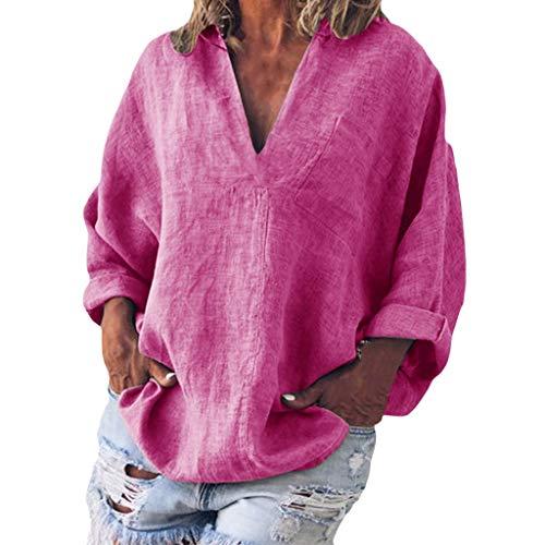 Bellelove Damen T-Shirts Baumwolle Leinenhemd Chic Einfache High Jacquard Tops Tunika V-Ausschnitt Langarm Bluse Einfarbig Top -