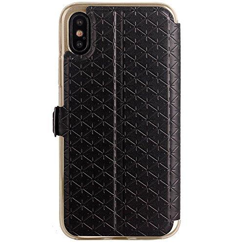 JIALUN-étui pour téléphone Pour iPhone 8, Smart Window Case Lattice Texture Housse en cuir PU Leather Flip Case avec slot pour carte et Kickstand ( Color : Rose ) Black