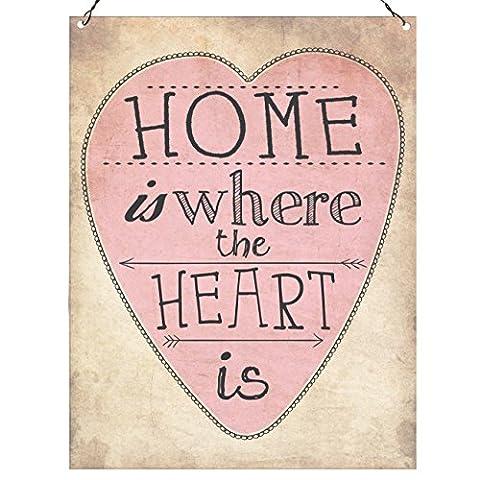 Home est où le cœur est mignon murale en métal plaque rétro Décoration 15x 20cm