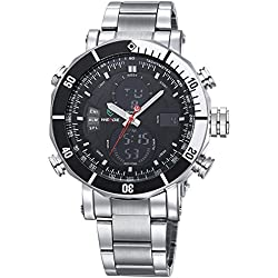 Alienwork DualTime Analogue-Digital Watch Chronograph LCD Wristwatch Multi-function Metal black silver OS.WH-5203G-01