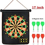Farraige Latest Roll-up Magnetic Dart Board Set 17 Inch Double Sided Hanging Wall Dartboard With 6 Safety Darts Needles