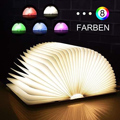 SKEY Stimmungsbeleuchtung,8 Farbmodi Buchlampe aus Holz, Buchlampe led,usb stimmungslichter,Tischleuchte,Nachttischlampe,dekorative Lampen braunes Papier + Holz Einband, 2000mAh,360°Faltbar