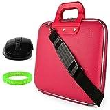 CADY Messenger Cube Ultra haltbarem Kunstleder Tasche Schutzhülle für Samsung ATIV Book 9: Spin, Plus, & Lite Serie 33cm Laptops + schwarz Wireless Maus rosa rose