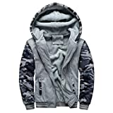 Herren Kapuzenjacke Man Boy Hoodie Winter Windjacke Warmer Fleece Reißverschluss Pullover Jacke Patchwork Outwear Mantel Tops Blusen Moonuy