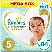Pampers Premium care Diapers, Size 5, Junior, 11-16 kg, Mega Box, 84 Count