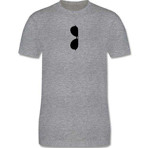 Hipster - Brille Kragen - Herren Premium T-Shirt Grau Meliert