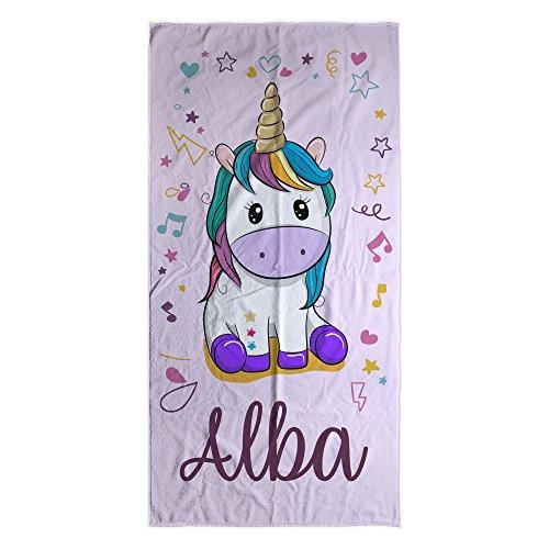 Toalla Unicornio Rosa Playa Personalizada con Nombre o Texto | Regalo Infantil...