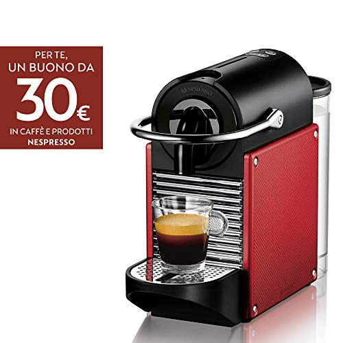 Nespresso Pixie EN125.R Macchina per caffè espresso di De'Longhi, Plastica, Rosso