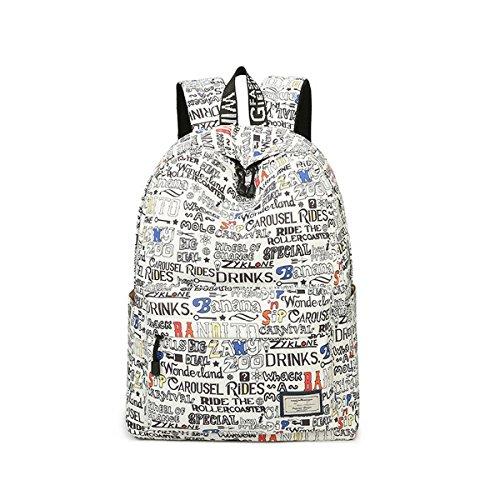 Acmebon Wasserdichte stilvolle Schule Rucksack für Jungen und Mädchen Trend drucken Zufälliger Laptop Rucksack Wort 617 (Vordere Mini Öffnen Sie Die)