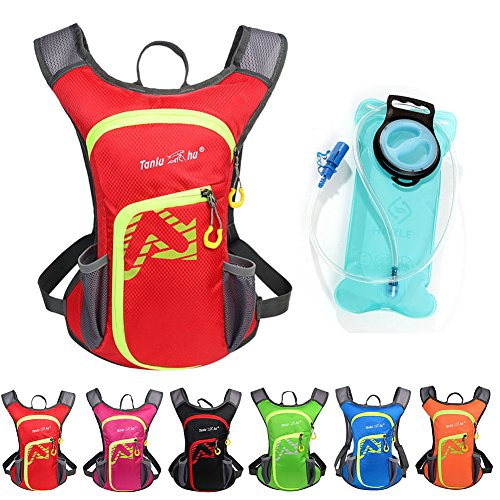 Asiki 12L Hydration Pack with 2L Water Bladder - Waterproof Camping Hiking Running Biking Trekking Climbing Cyclng Hydration Backpack & Rucksack (Red)
