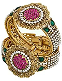 Chrishan Stone Pearl Gold Plated Bangles Set For Women