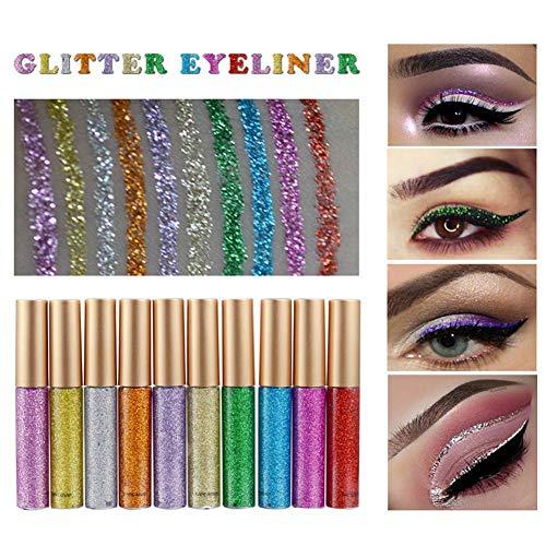 Freeorr 10 Farben Liquid Glitter Eyeliner, Metallic Shimmer Glitter Eyeshadow, Langlebiger Wasserdichter Shimmer Sparkling Eyeliner Lidschatten-10 Stück