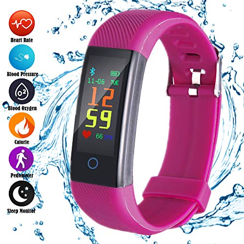 aimion Fitness Trackers Watch Pedometer Heart Rate Blood Pressure Monitor Slim Activity Tracker Message Reminder smart wristband for Android iOS Smartphone Men Women (Purple)