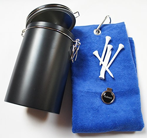Golf Geschenk-Box: Golf-Caddytuch, Cap-Clip und Golfball Marker mit INITIALEN oder VORNAMEN, über...