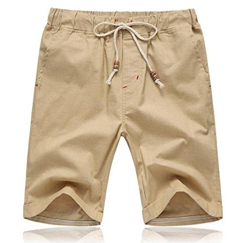 YULAND Herren Shorts, Bekleidung Männer Sommer Leinen Baumwolle Solid Beach Casual Elastische Taille Klassische Fit Shorts (XL, Khaki)