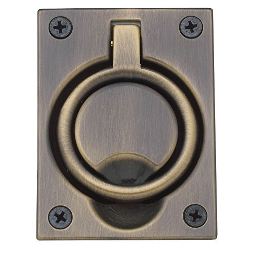 Baldwin 0395050 Flush Ring Pull, Antique Brass by Baldwin -