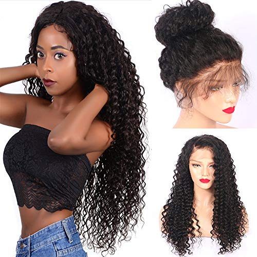 Fureya Hair 8A Unprocessed Brazilian Fashion Ponytail Deep Curly Glueless Lace Perruques for Black Women 180% Density Virgin Hair Lace Front Wigs with Baby Hair(26 inch,1B)