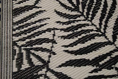 Profisparen OutdoorTeppich Tropical Leaves 120X180cm schwarz beige wasserabweisend schön auf Holzböden, Dielen, Stein
