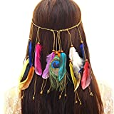 MEIWO Feather Bandeau Fascinator Glands Bande De Cheveux Bohême Paon Plume Tassel...