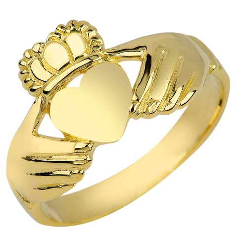 Gold Ring Irish Claddagh (Kleine Schätze - Damen Ring / Verlobungsring / partnerring 10 Karat Gold Irish Claddagh Ring)