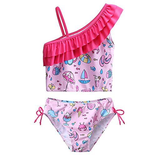 ZNYUNE Mädchen Baby Kinder UV Schutz 50+ Sonnenschutz Badeanzug Schwimmanzug Badebekleidung Tankini 2 TLG Pink 10 11 12 Jahre