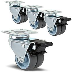 LIHAO Lot DE 4 roulettes Ultra-Résistantes Pivolantes avec Frein d'Arrêt pour Chariot Meuble