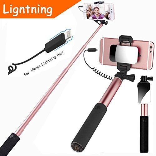 Selfie Stick, specchio, controllo a filo (senza Bluetooth), monoposto portatile compatto estensibile con mirror per riprese fotocamera posteriori HD e otturatore a distanza integrato (oro rosa)