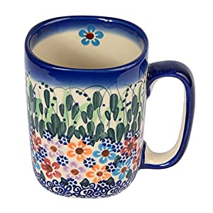 Traditional Polish Pottery, Handcrafted Ceramic Tall Square Mug (275ml / 9.7 fl oz), Boleslawiec Style Pattern, Q.401.DAISY