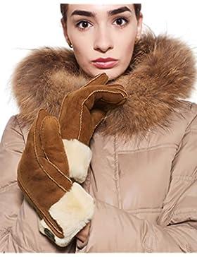 YISEVEN Guantes de las mujeres de piel forrado de oveja de cuero genuino de napa marrón de invierno