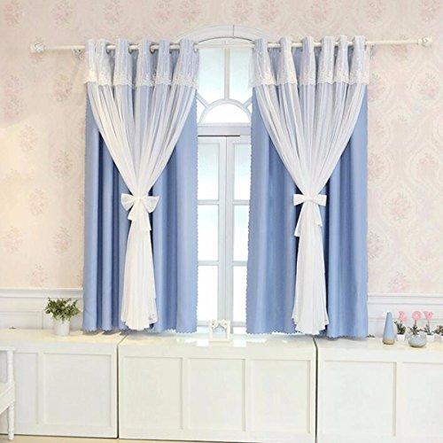 Tende pizzo breve cortina usanza panno arte trasparente finestra sipario salotto balcone,b,100 x 270 cm (w x h) x 2,