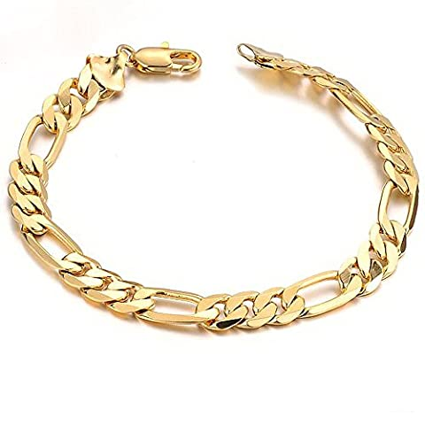 Fate Love Men's 18k Yellow Gold Plated Figaro Chain Link Bracelet, 8.26 Inches