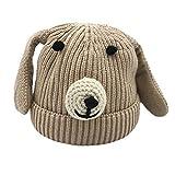 Tonsee Baby Mütze Beanie, Winter Jungen Mädchen Hut Tiere Design Soft Wollene Hüte Kinder Cap Unisex Einfabrig und Streifen (Beige)