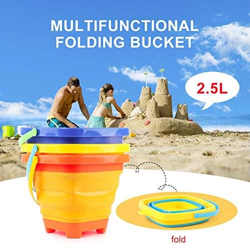 3 Stück Strand Eimer Sand Spielzeug für Kinder - Faltbare Strand Silikon Eimer - Sommerfest Spielen Tragbaren Eimer - 2.5L - Verschiedene Farben