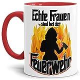 """Feuerwehr-Tasse""""Echte Frauen FW"""" Beruf/Helden/Lustig/Spruch/Geschenk-Idee/Innen & Henkel Rot"""