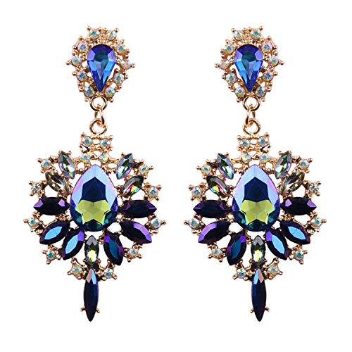 Presock Pendientes Mujer,Aretes Women Drop Earrings Colorful Flower Big Brand Design Luxury Starburst Pendant Crystal Stud Gem Statement Earrings Jewelry Gifts Multicolor