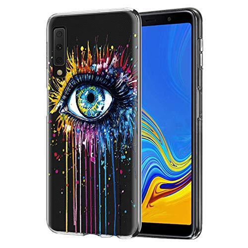 ZhuoFan Funda Samsung Galaxy A7 2018, Cárcasa Silicona 3D Transparente con Dibujos Diseño Suave Gel TPU [Antigolpes] Bumper Case Cover Fundas para Movil Samsung Galaxy A7 2018 (Ojo)