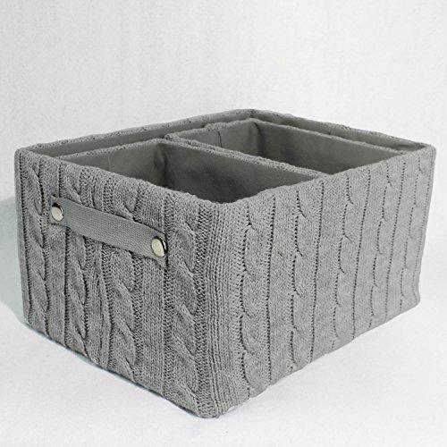 Aufbewahrungskorb Korb Strick 3er Set wählbar in Grau, Rosa oder Weiss, Farbe:Grau