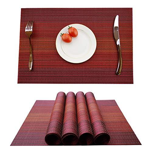 KOKAKO Platzsets (4er Set), Rutschfest Abwaschbar Tischsets,PVC Abgrifffeste Hitzebeständig Platzdeckchen,Schmutzabweisend und Waschbare,Platz-Matten für küche Speisetisch(Rot)