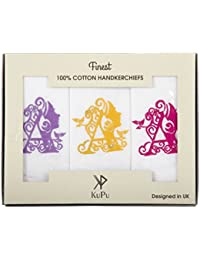 Personalised Female Initial Embroidered Handkerchiefs 100% COTTON Gift able Box/Christmas Gift/Wedding Gift.