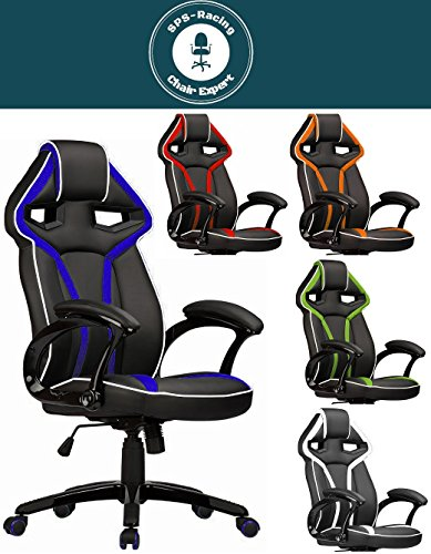 Master Racing Bürostuhl Chefsessel Drehstuhl Schreibtischstuhl Gaming Zocker Stuhl Office Chair (schwarz/blau)