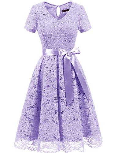Dresstells Damen Spitzenkleid Herzform Elegant Cocktail Abendkleid Lavender 2XL