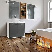 idmarket meuble sous lavabo gris pour vasque de salle de bain