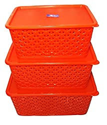 STORAGE BASKET SET WITH COVER (SET OF 3)(RED)