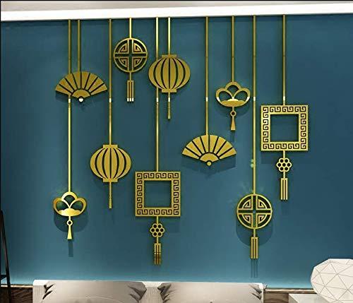 130 * 127 Cm Kreative Fan Laterne Chinese New Year Chinesischen Stil Chinesischen Knoten Acryl 3D Wandaufkleber Wohnzimmer Schlafzimmer Dekoration Gold